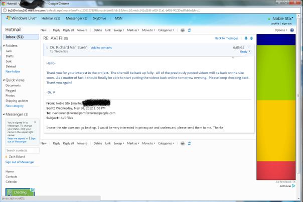 Extrait d'un mail de réponse du Dr Van Buren à un internaute