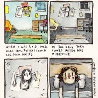 1. Quand j'étais petit, il y avait des posters que je pouvais voir de mon lit 2. dans le noir, ils semblaient différents 3. ça ressemblait à une fille coincée dans le mur, qui me regardait, impassible 4. je savais qu'elle pouvait bouger uniquement quand je fermais mes yeux